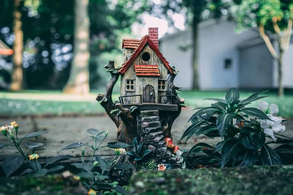 small gnome house with a red roof