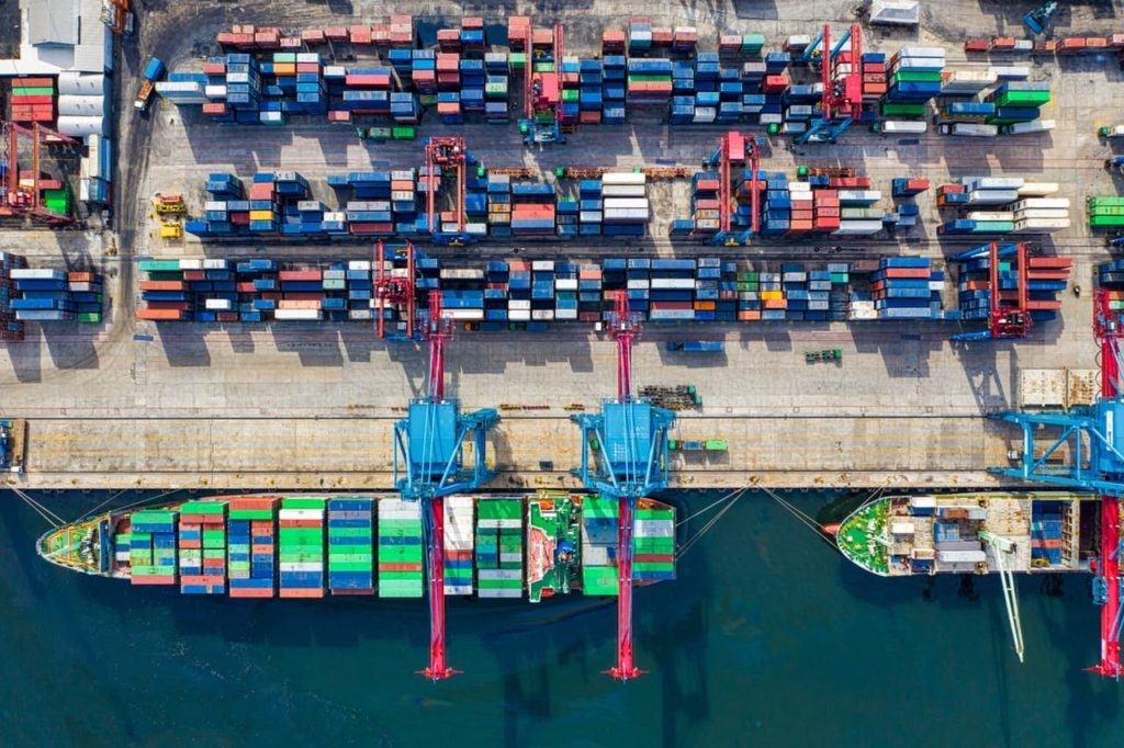 birds eye view of a shipping container and all the freight