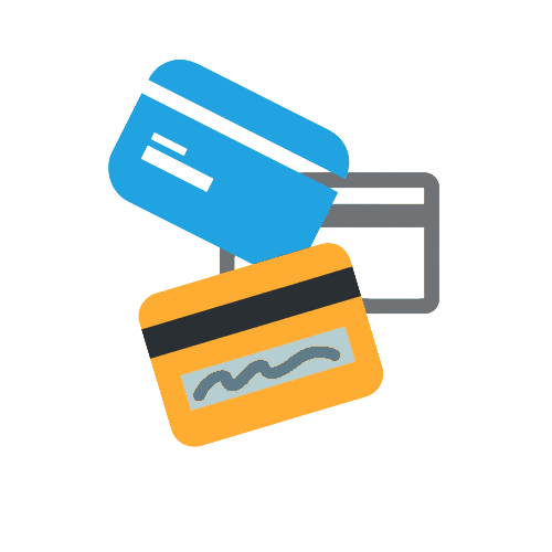 stacked cartoon credit cards