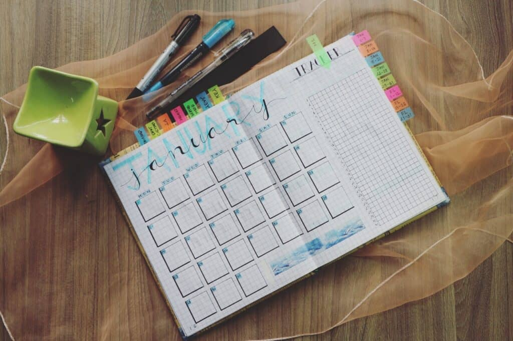 planner and writing material