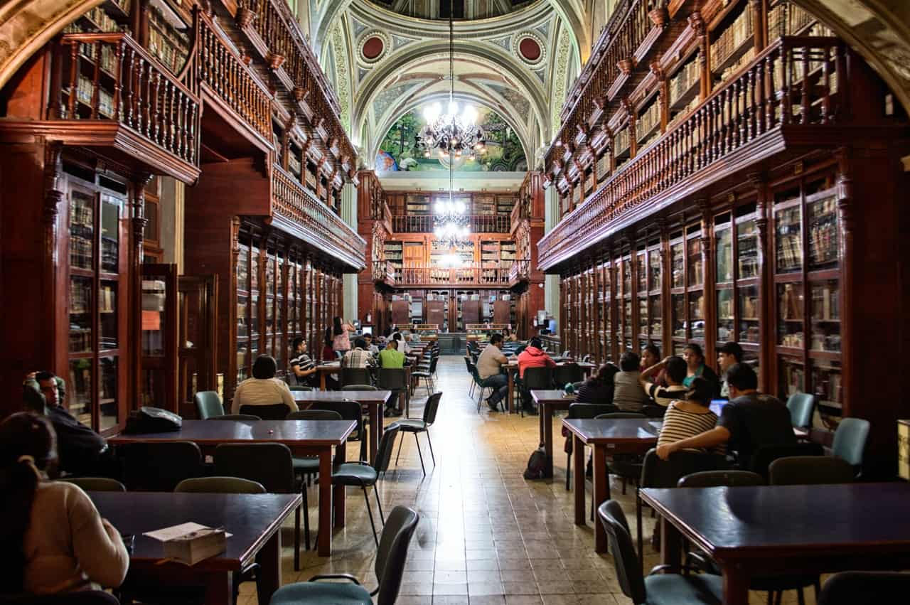 inside a library