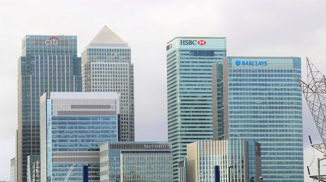 multiple bank buildings all together